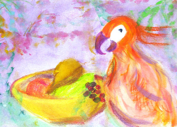 Parrot Art Print featuring the painting A Parrot And The Passion Fruit by Michela Akers