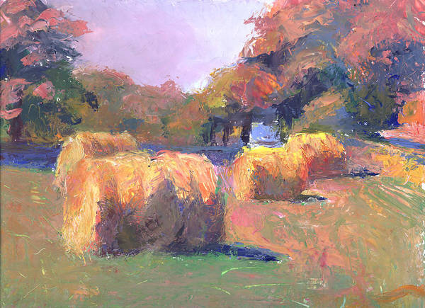Landscape Art Print featuring the painting Airmont Hay Bales Morning by Timothy Chambers