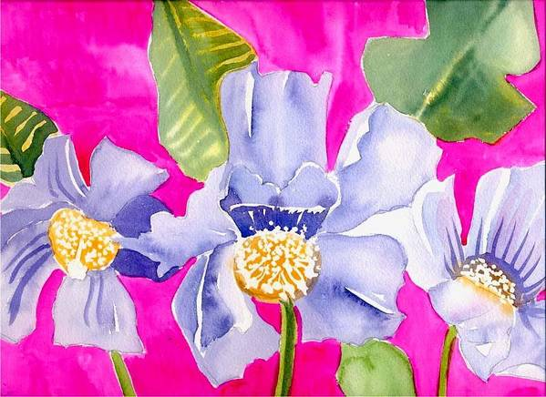 Big Pink Flowers Art Print featuring the painting Big Pink Flowers by Janet Doggett
