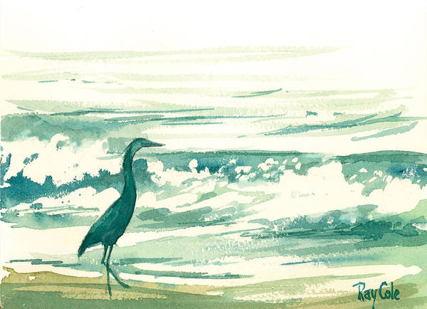 Blue Heron At The Water\ Art Print featuring the painting Blue Heron by Ray Cole