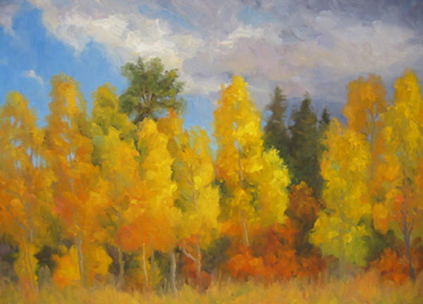 Landscape Art Print featuring the painting Clouds Of October by Bunny Oliver