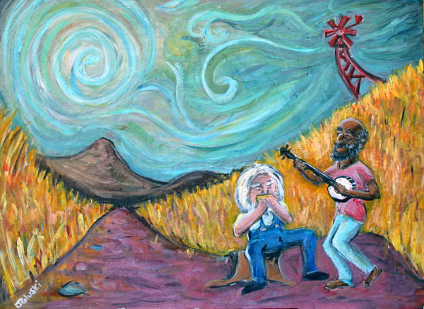 Country Music South Old Man Banjo Van Gogh Corn Field Art Print featuring the painting Country Music by Jason Gluskin