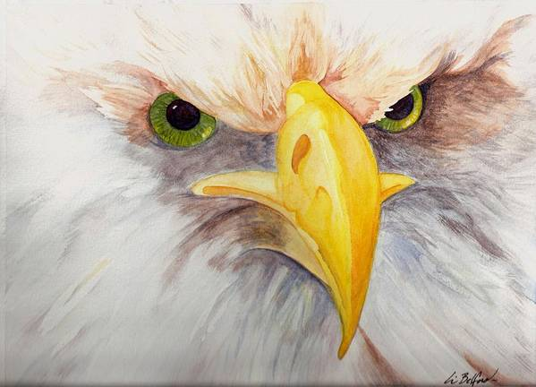 Eagle Art Print featuring the painting Eagle Stare by Eric Belford