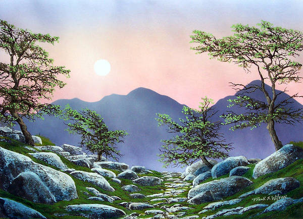 Evening Moonrise Art Print featuring the painting Evening Moonrise by Frank Wilson