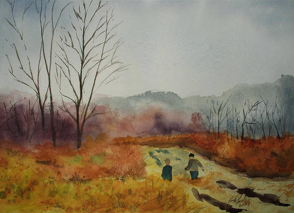 Landscape Art Print featuring the painting Foggy Day Hike by Paul Temple