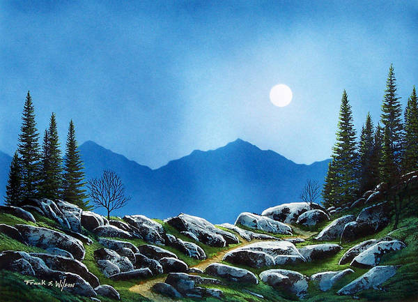 Landscape Art Print featuring the painting Moonlight Hike by Frank Wilson