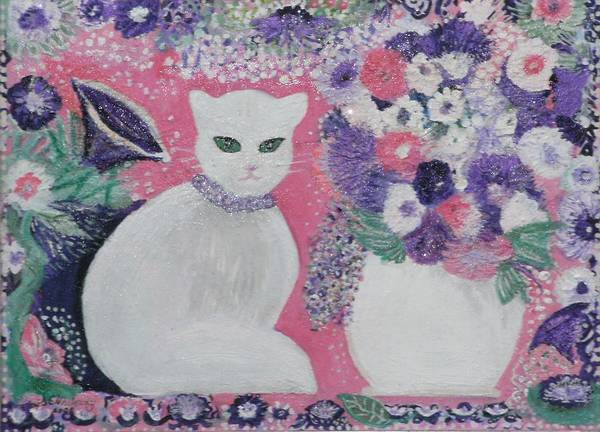 White Cat Purple Pink Still Life Whimsy Lavender Fancy Pretty White Cat Art Print featuring the mixed media Snow's Garden by Anne-Elizabeth Whiteway