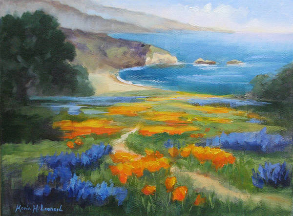 Big Sur Art Print featuring the painting California Spring Big Sur Coast by Karin Leonard