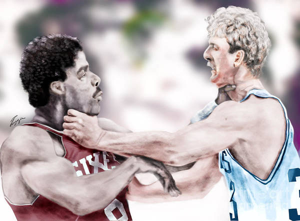 Sports Art Print featuring the painting Clash Of The Titans 1984 - Bird And Doctor J by Reggie Duffie