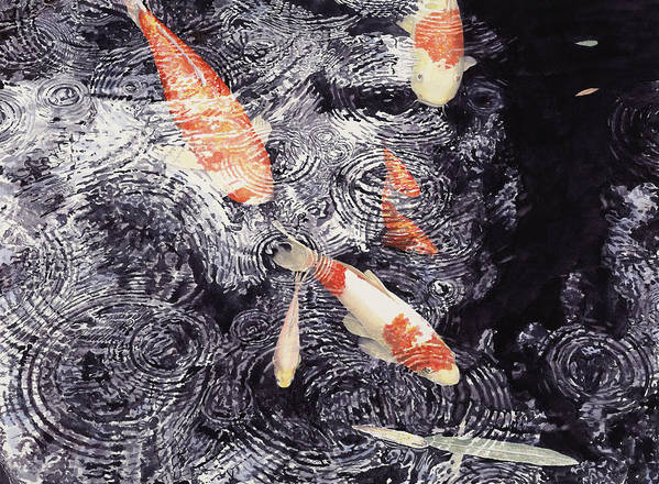 Koi Art Print featuring the painting Koi In The Rain by Ted Head