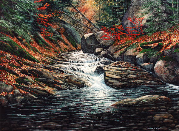 Landscape Art Print featuring the painting Autumn Brook by Frank Wilson
