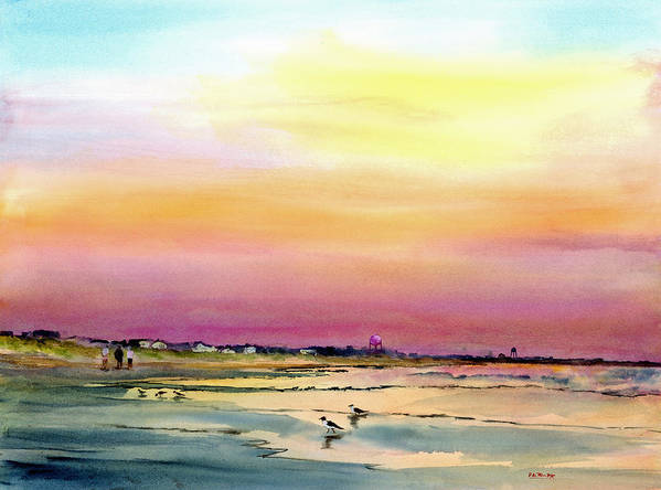 Seascape Art Print featuring the painting Early Morning Walk Avalon Nj by Paul Temple