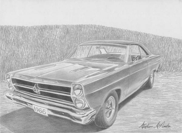 Rooks10904 Drawings Art Print featuring the drawing 1966 Ford Fairlane Muscle Car Art Print by Stephen Rooks