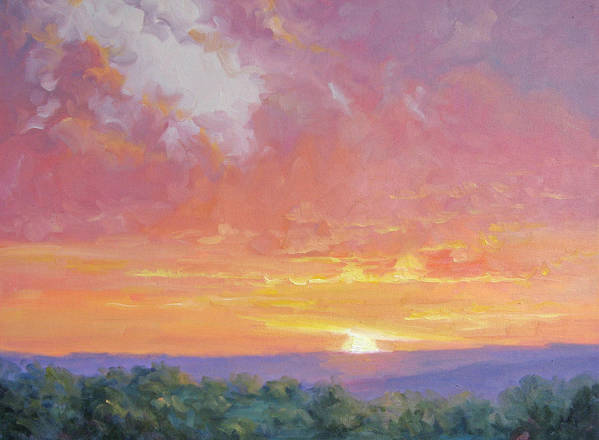 Sunrise Art Print featuring the painting A New Dawn by Bunny Oliver
