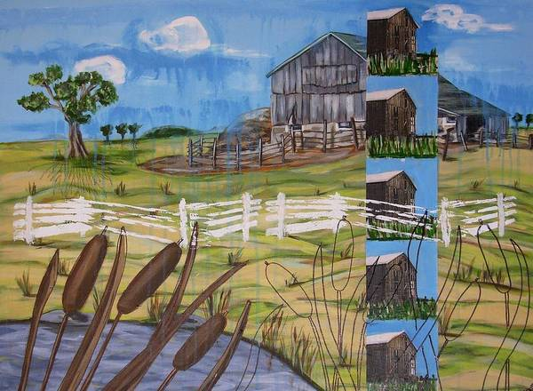 Farms Art Print featuring the painting Bullrushes by Judy Anderson