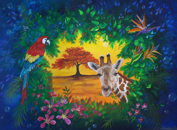 Giraffe Art Print featuring the painting Crossing Into New Realms by Sundara Fawn