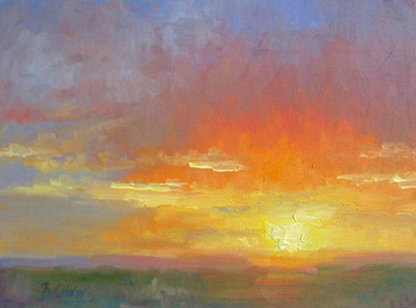 Sunset Art Print featuring the painting Evening Drama by Bunny Oliver