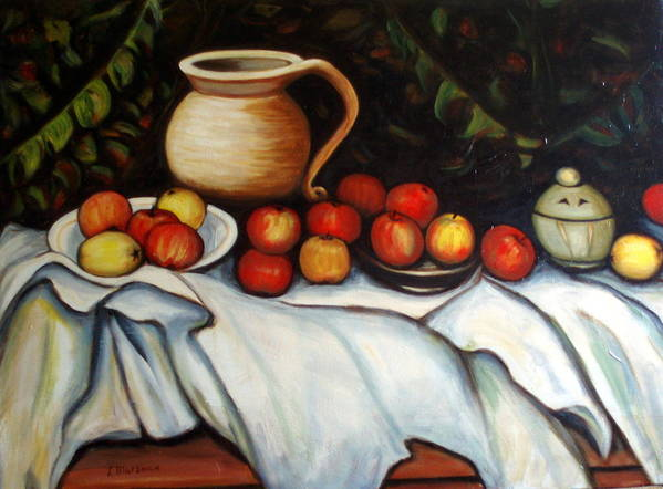 Still Life Art Print featuring the painting Homage To Cezanne by Lia Marsman