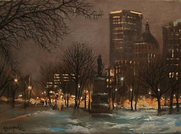 City At Night Art Print featuring the painting Juneau Park Milwaukee by Tom Shropshire