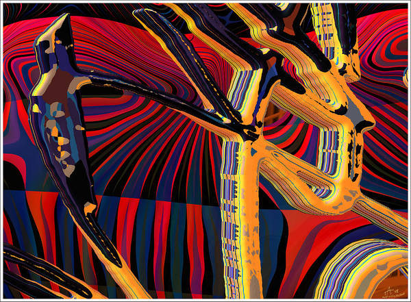 Digital Art; Abstract Art; Bryce 3-d Art Print featuring the digital art Kali-fa-callig10x11m8 by Terry Anderson