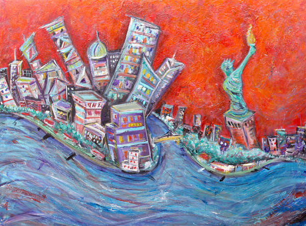 Statue Of Liberty New York City Wall Steet Manhattan Hudson River New Jersey State Park Ellis Island Art Print featuring the painting Lady Liberty by Jason Gluskin