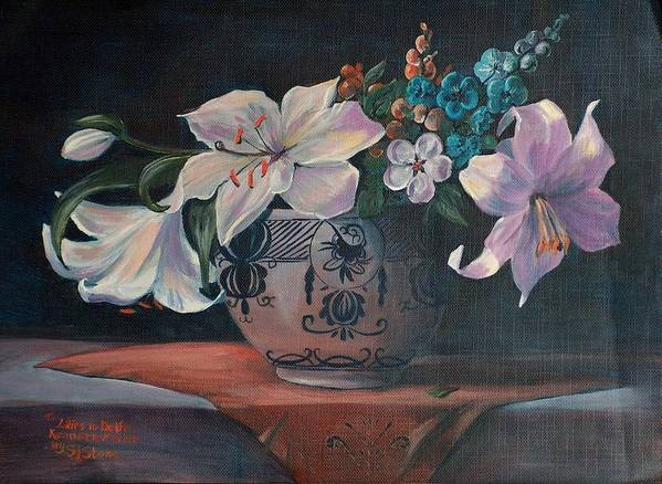 Flower Art Print featuring the painting Lilies In Delft by Sylvia Stone