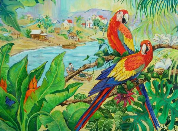 Birds Art Print featuring the painting Macaws by Dianna Willman
