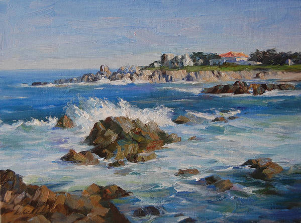 Landscape Art Print featuring the painting Monterey Bay by Kelvin Lei