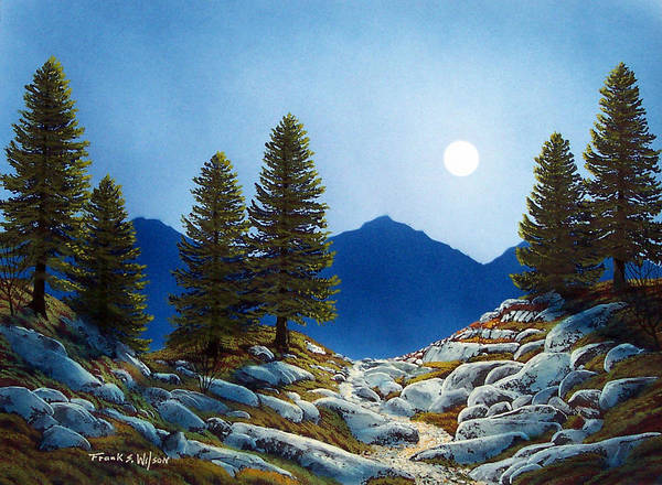 Landscape Art Print featuring the painting Moonlit Trail by Frank Wilson