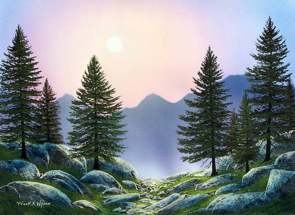 Landscape Art Print featuring the painting Mountain Firs by Frank Wilson