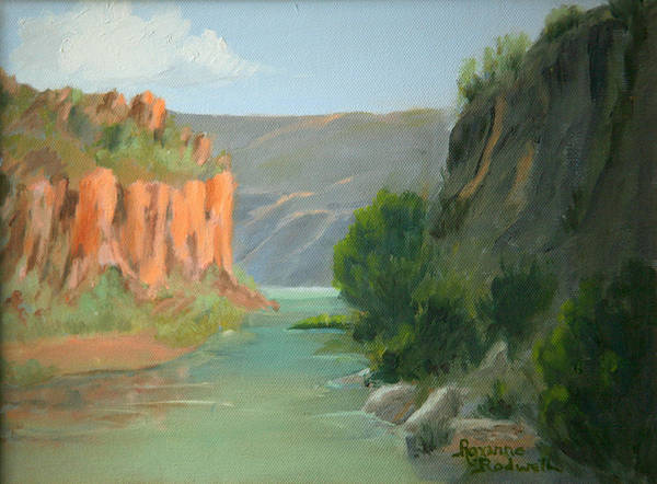 Landscape Art Print featuring the painting Rio Grande Canyon by Roxanne Rodwell