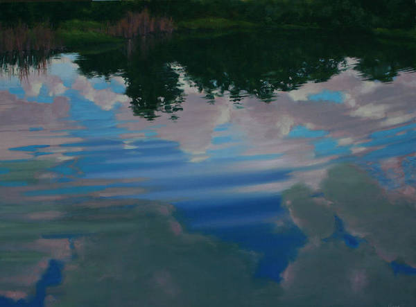 Oil On Canvas Art Print featuring the painting Sky Pond by Michael Vires
