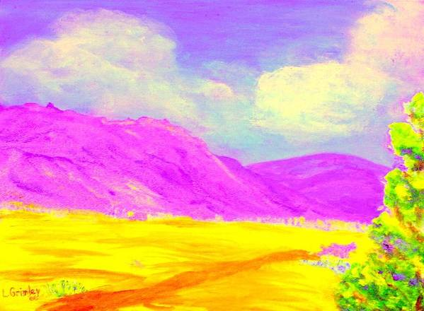 Mountains Art Print featuring the painting Technicolor Desert by Lessandra Grimley