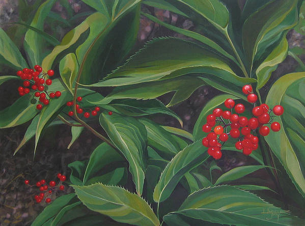 Berries Art Print featuring the painting The Berries On Guanella Pass by Hunter Jay