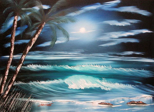 Seascape Art Print featuring the painting Midnight Ocean by Sheldon Morgan