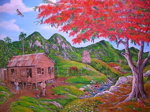Landscape Art Print featuring the painting Casita De Campo by Jose Lugo