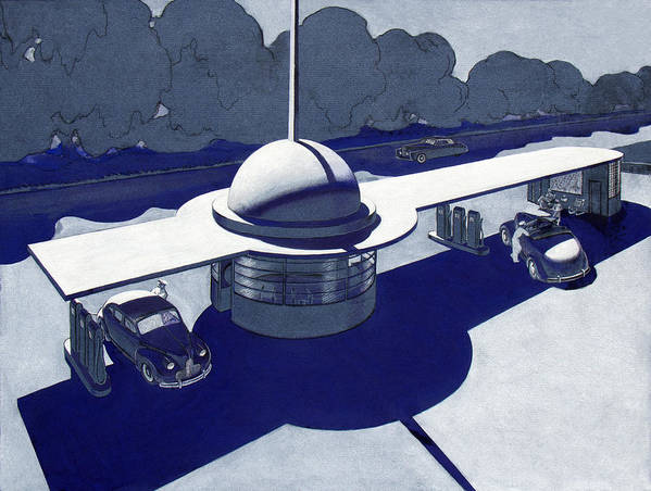Streamline Moderne Art Print featuring the painting Roadside Of Tomorrow by Robert Poole