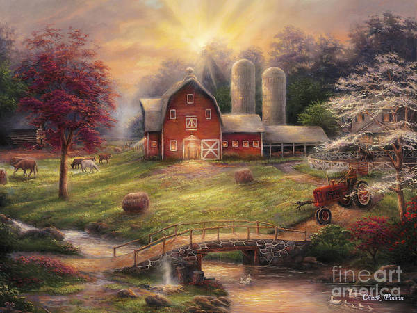 Quintessential Farm Art Print featuring the painting Anticipation Of The Day Ahead by Chuck Pinson