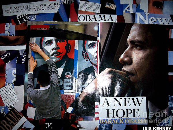 Isis Kenney Hip Hop Fine Art Collage Barack Obama Art Print featuring the mixed media Barack Obama by Isis Kenney