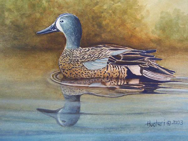 Rick Huotari Art Print featuring the painting Blue Winged Teal by Rick Huotari