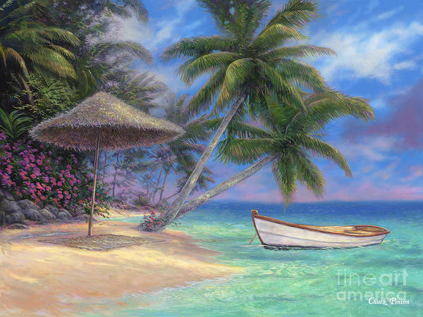 Tropical Print featuring the painting Drift Away by Chuck Pinson