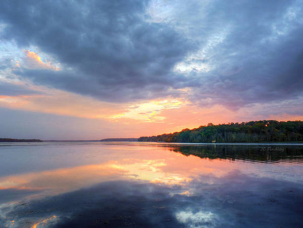 Bay Art Print featuring the photograph Mirrored Sunset by JC Findley
