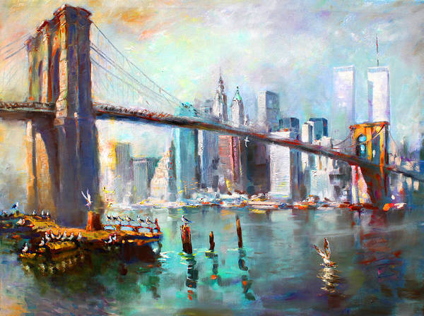 Nyc Art Print featuring the painting Ny City Brooklyn Bridge II by Ylli Haruni