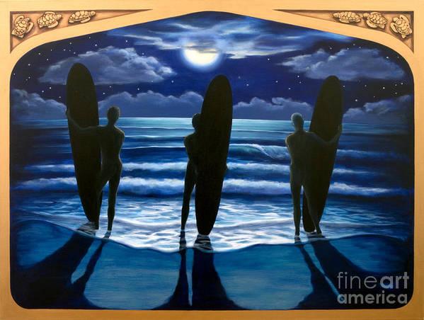Surfing Art Print featuring the painting Phosphorus Nights by Teri Tompkins