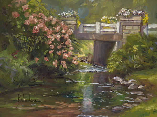 Nature Art Print featuring the painting Plein Air - Bridge And Stream by Lucie Bilodeau