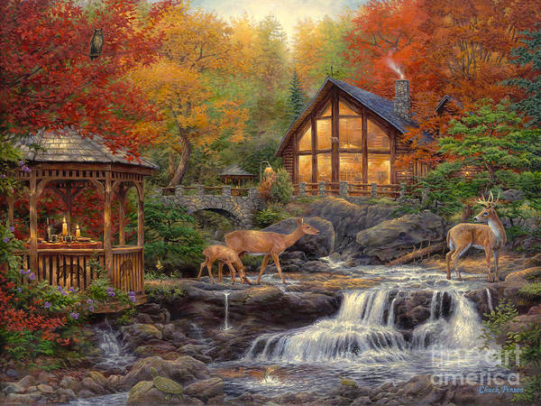 Cabin Art Print featuring the painting The Colors Of Life by Chuck Pinson