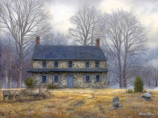 Colonial Art Print featuring the painting The Old Farmhouse by Chuck Pinson