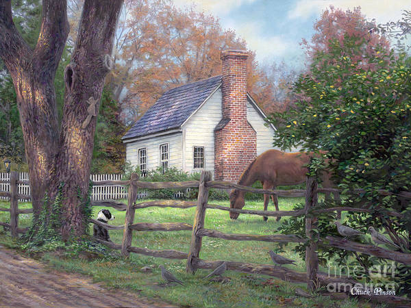 Folk Art Art Print featuring the painting Where Time Moves Slower by Chuck Pinson