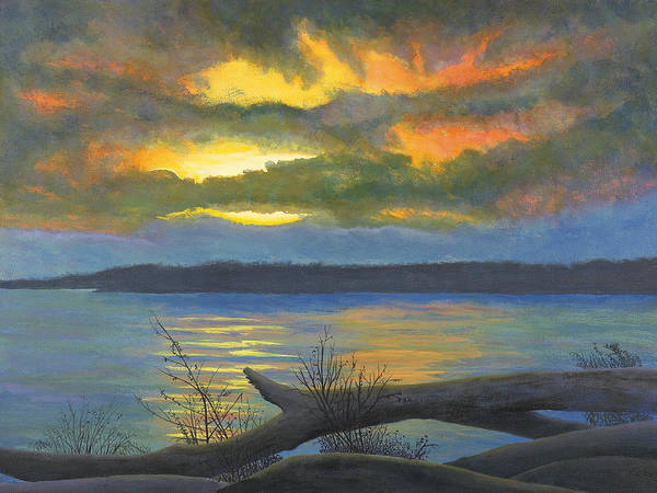 Mississippi River Art Print featuring the painting Winter Solstice At The Confluence Of The Mississippi And The Missouri Rivers by Garry McMichael