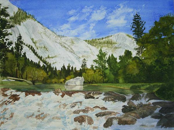Landscape Art Print featuring the painting Yosemite Park by Monika Degan